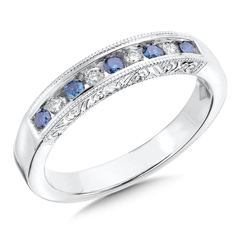 SDC Creations Channel Set Blue & White diamond anniversary band, 14k White Gold (0.28 ct. tw.) Fancy /