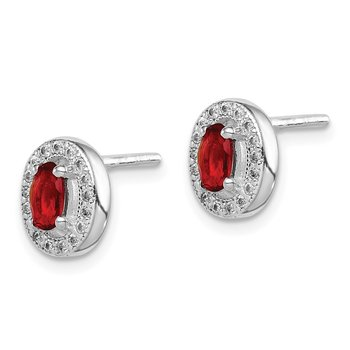 Sterling Silver Rhod-plated Red and White CZ Oval Stud Earrings