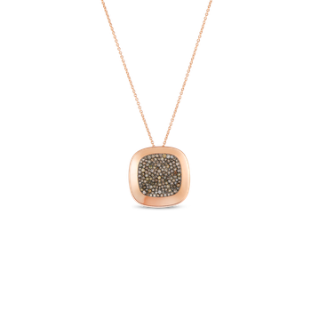 18Kt Gold Large Pendant With Brown Diamonds