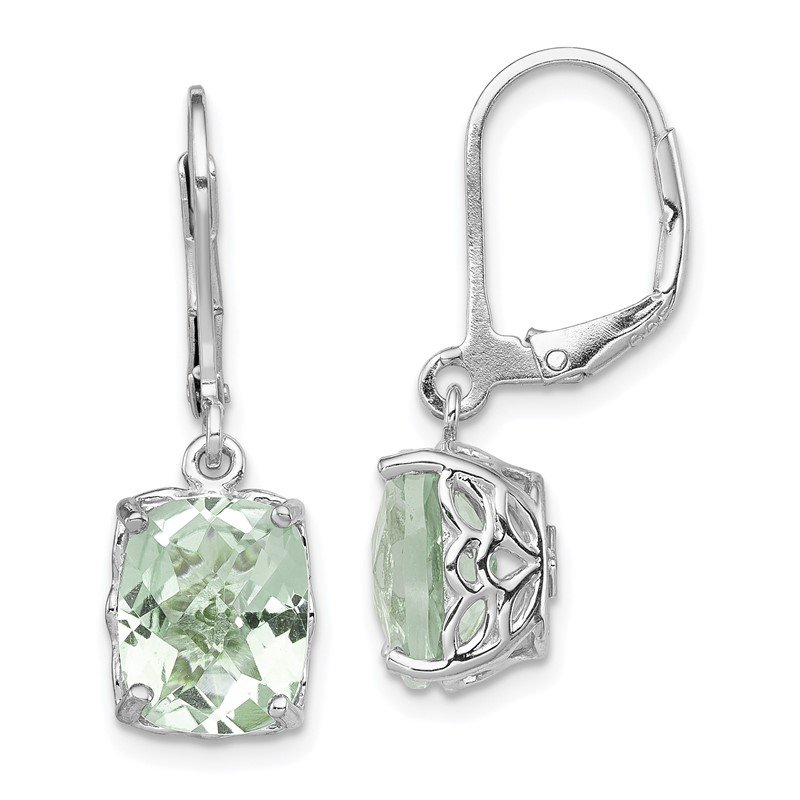 Quality Gold Sterling Silver Rhodium-plated Green Quartz Earrings