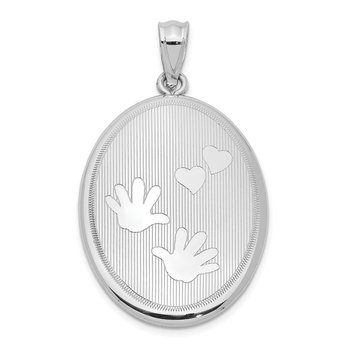 Sterling Silver Rhodium-plated Polished Hands and Hearts Oval Open Locket