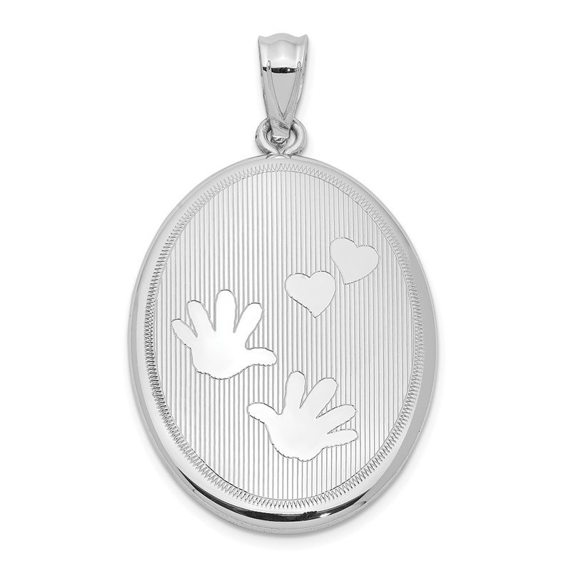 Quality Gold Sterling Silver Rhodium-plated Polished Hands and Hearts Oval Open Locket