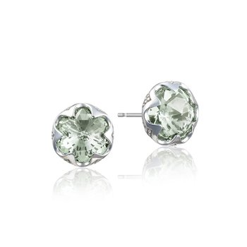 Crescent Bezel Earrings featuring Prasiolite