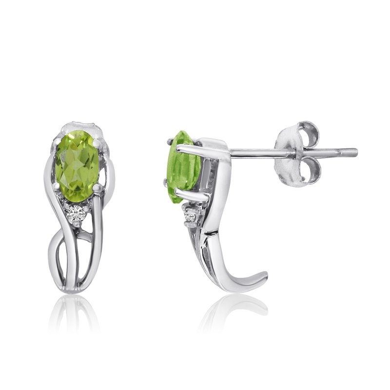 Color Merchants 14K White Gold Curved Peridot and Diamond Earrings