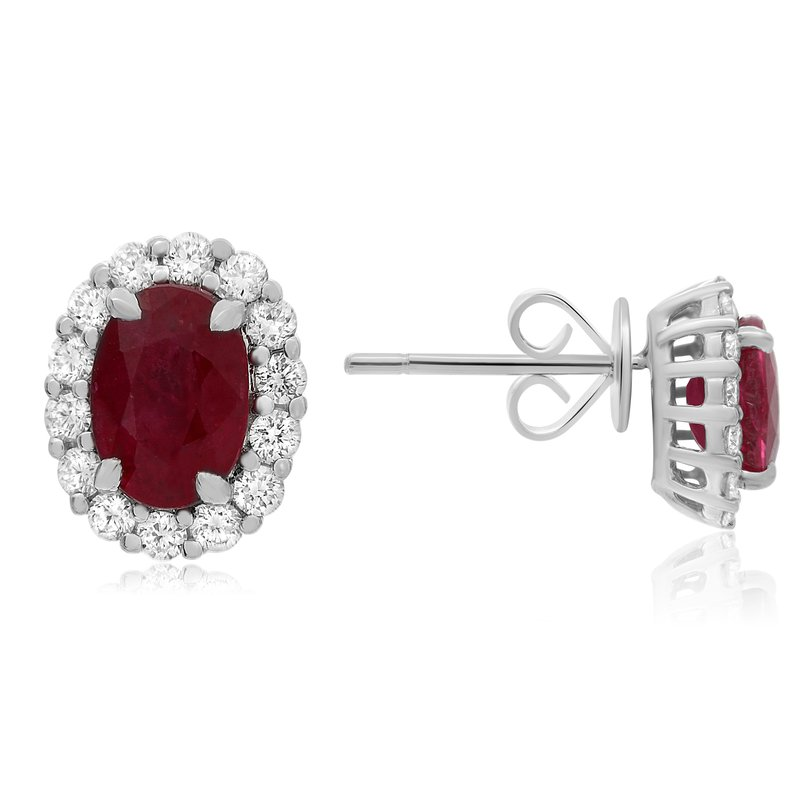 Roman & Jules Oval Ruby & Diamond Earrings