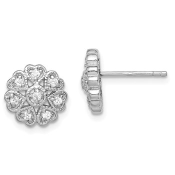 Sterling Silver Rhodium-plated CZ Flower Heart Post Earrings