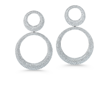 18Kt Gold Double Hoop Earring With Diamonds