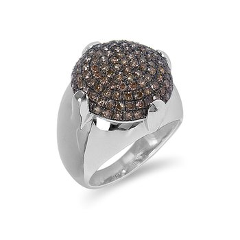 925 SS and champagne diamond Dome ring in pave setting