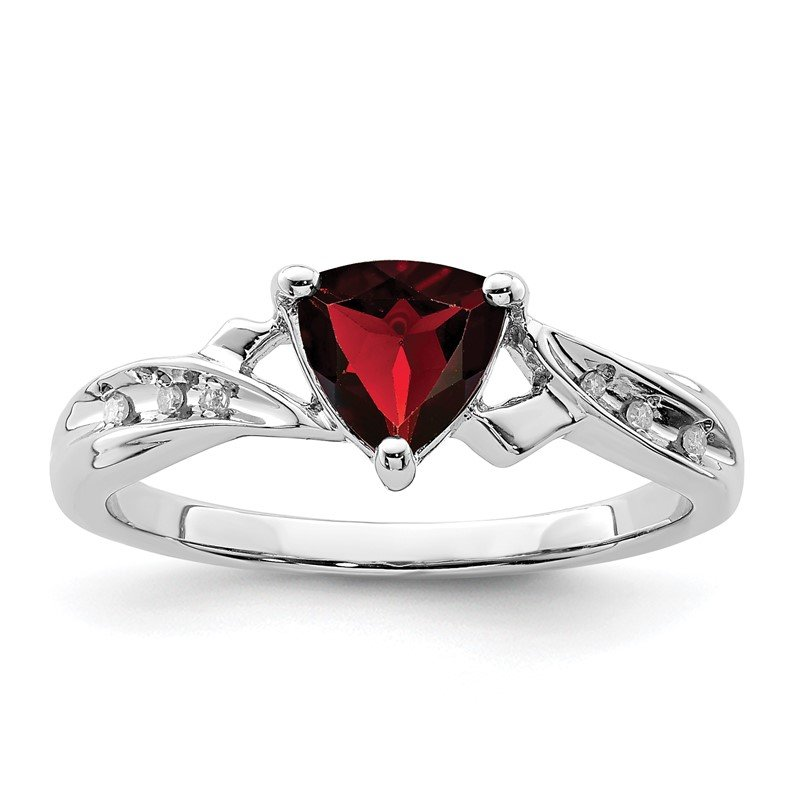 Quality Gold Sterling Silver Rhodium Plated Diamond and Garnet Heart Ring