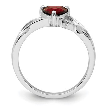 Sterling Silver Rhodium Plated Diamond and Garnet Heart Ring