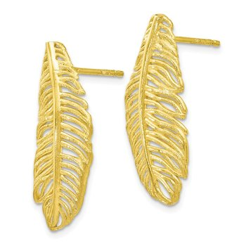Leslie's Sterling Silver Gold-tone Leaf Post Earrings
