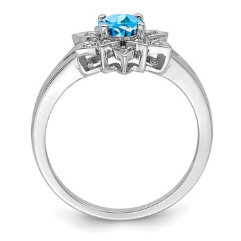 Sterling Silver Rhodium Diam. & Light Blue Topaz Ring