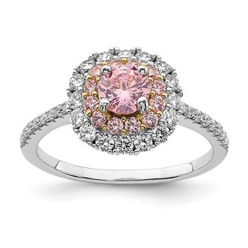 Sterling Silver Rhodium-plated/Gold-tone Pink & White CZ R/C Ring