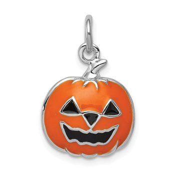 Sterling Silver Rhodium-plated Orange Jack-a-Lantern Charm