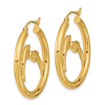 14k Polished Dolphins Hoop Earrings