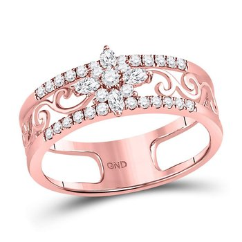 14kt Rose Gold Womens Marquise Diamond Cluster Curl Scroll Band Ring 1/2 Cttw
