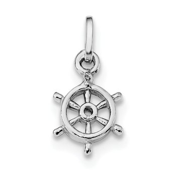 Sterling Silver Rhodium Plated Polished Captain's Wheel Charm