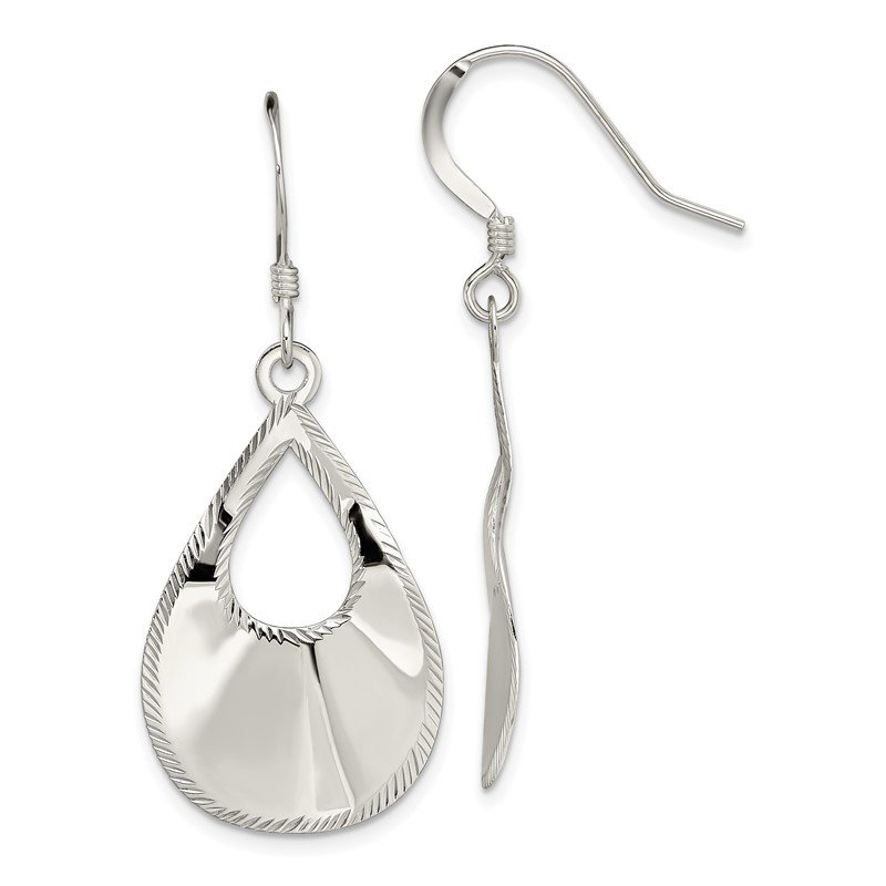 Quality Gold Sterling Silver Polished Laser Cut Teardrop Dangle Hook Earrings