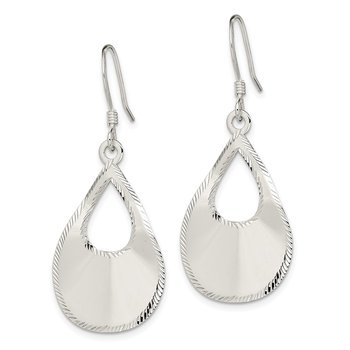 Sterling Silver Polished Laser Cut Teardrop Dangle Hook Earrings