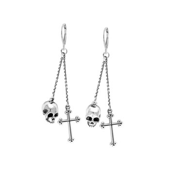 Double Chain Lever Back Earrings W/ Hamlet Skull/Traditional Cross Drops