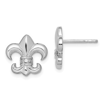 Sterling Silver Rhodium Plated CZ Fleur de lis Post Earrings
