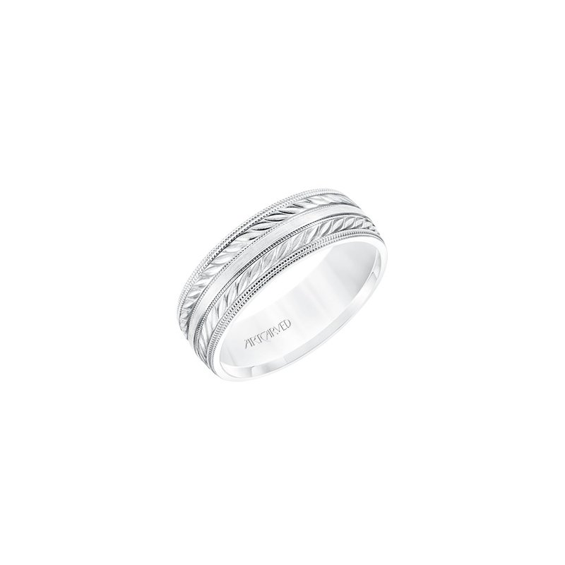 ArtCarved 14K White Gold Engraved Comfort Fit Wedding Band