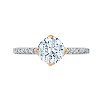 18K Two-Tone Gold Round Diamond Floral Engagement Ring (Semi-Mount)