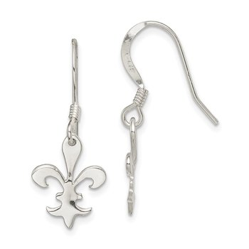 Sterling Silver Polished Fleur De Lis Dangle Earrings