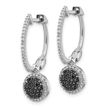 Sterling Silver Rhod Plated Black and White Diamond Hinged Hoop Earrings