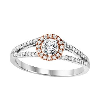 14K Diamond Engagement Ring 1/5 ctw with 1/4 ct Center