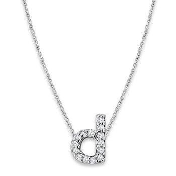 "Diamond Baby Typewriter Initial ""D"" Necklace in 14k White Gold with 14 Diamonds weighing .08ct tw."