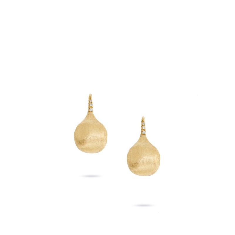 Marco Bicego Marco Bicego® Africa Boule 18K Yellow Gold and Diamond Medium French Wire Earrings