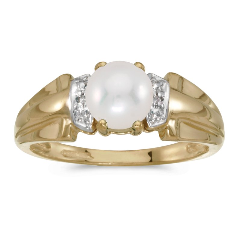 Color Merchants 14k Yellow Gold Pearl And Diamond Ring