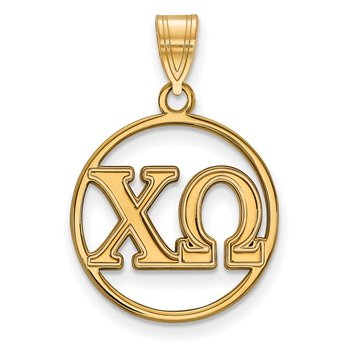 Gold-Plated Sterling Silver Chi Omega Greek Life Pendant