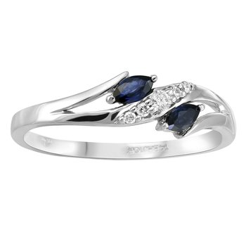 14KW Fashion Ring with Diamonds and Sapphires