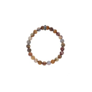 8Mm Piccaso Jasper Plain Beaded Bracelet W/ Logo Ring