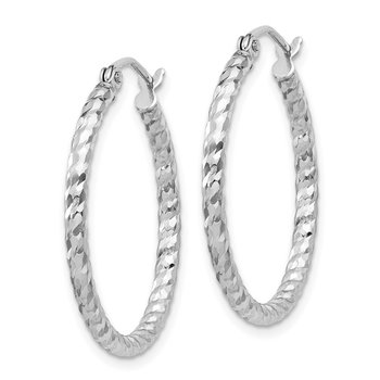 Sterling Silver Rhodium Plated D/C 2x25mm Hoop Earrings