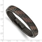 Chisel Stainless Steel Polished Black IP Brown/Black Leather 8.25in Bracelet