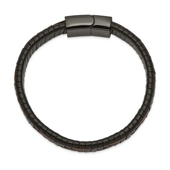Stainless Steel Polished Black IP Brown/Black Leather 8.25in Bracelet