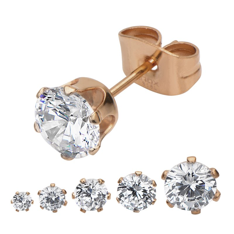 INOX Rose Gold Plated Steel with Clear CZ Stud Earrings (Unisex)