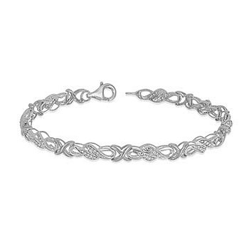 10K WG and diamond Infinity and X Linked Lobster Clasp Bracelet in Prong Setting