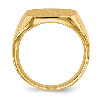 14k 17.0x15.0mm Closed Back Men's Signet Ring