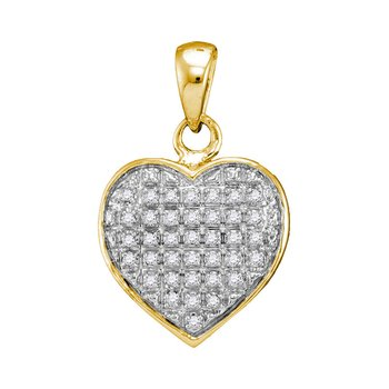 10kt Yellow Gold Womens Round Diamond Heart Love Cluster Pendant 1/10 Cttw
