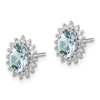 Sterling Silver Rhodium Plated Diamond Aquamarine Post Earrings