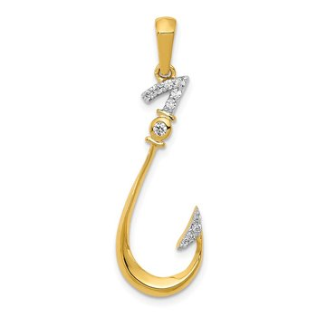 14k Diamond Fish Hook Pendant