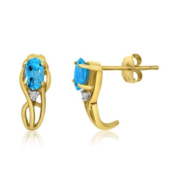 14K Yellow Gold Curved Blue Topaz and Diamond Earrings