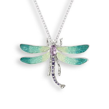 Green Dragonfly Necklace.Sterling Silver-White Sapphire and Amethyst