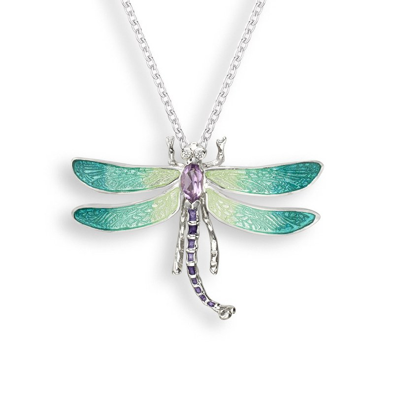 Nicole Barr Designs Green Dragonfly Necklace.Sterling Silver-White Sapphire and Amethyst