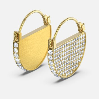 Ginger Hoop Pierced Earrings, White, Gold-tone plated