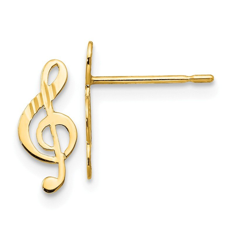 Quality Gold 14k Madi K D/C Children's Music Note Post Earrings